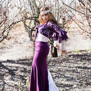 חצאית פלמנקו דגם מדריד משולש תחרה